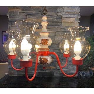 Vintage Porcelain, Glass & Red Brass Floral 5 Light Chandelier Preview