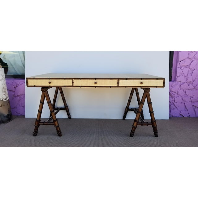 Hollywood Regency Williams Sonoma Home Faux Bamboo and Cane Classic Desk For Sale - Image 13 of 13