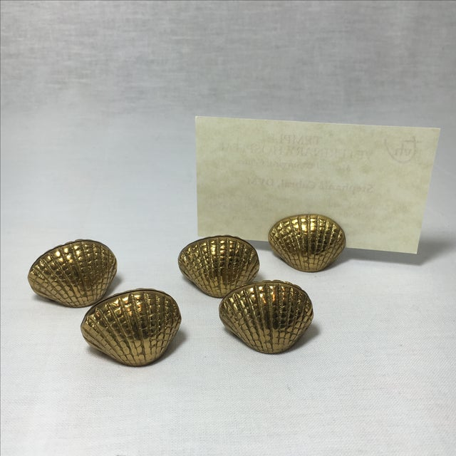 Brass Shell Place Card Holders - Set of 5 For Sale - Image 4 of 4