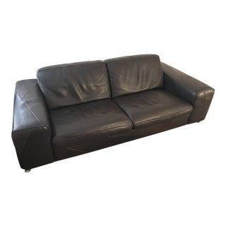Roche Bobois Brown Leather Sofa For Sale
