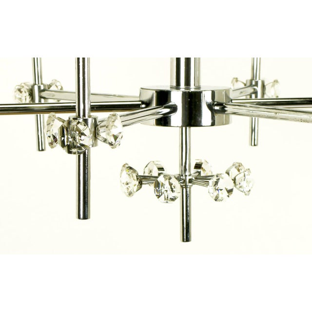 Metal 1960s Six-Arm Crystal Snowflake Chrome Chandelier by Gaetano Sciolari For Sale - Image 7 of 7