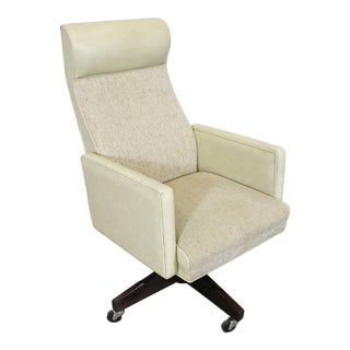 Mid-Century Modern Swivel Reclining Office Arm Chair For Sale