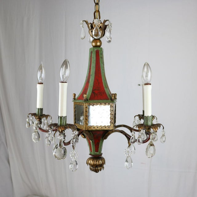 Italian Mirrored Tole & Crystal Chandelier - Image 2 of 11