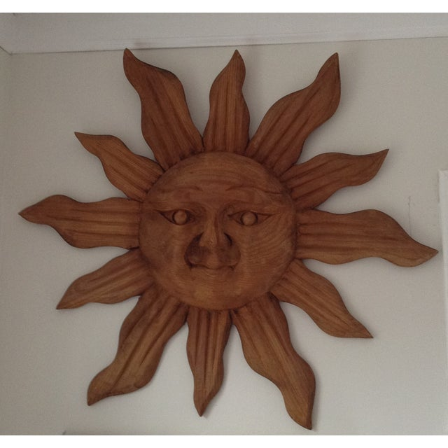 Large Handcarved Wood Sun Wall Art - Image 2 of 3