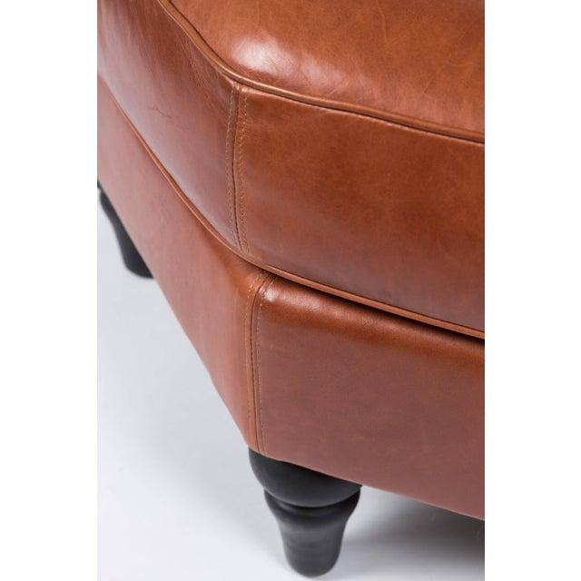 Leather Custom Edelman Leather Hexagonal Ottoman For Sale - Image 7 of 8