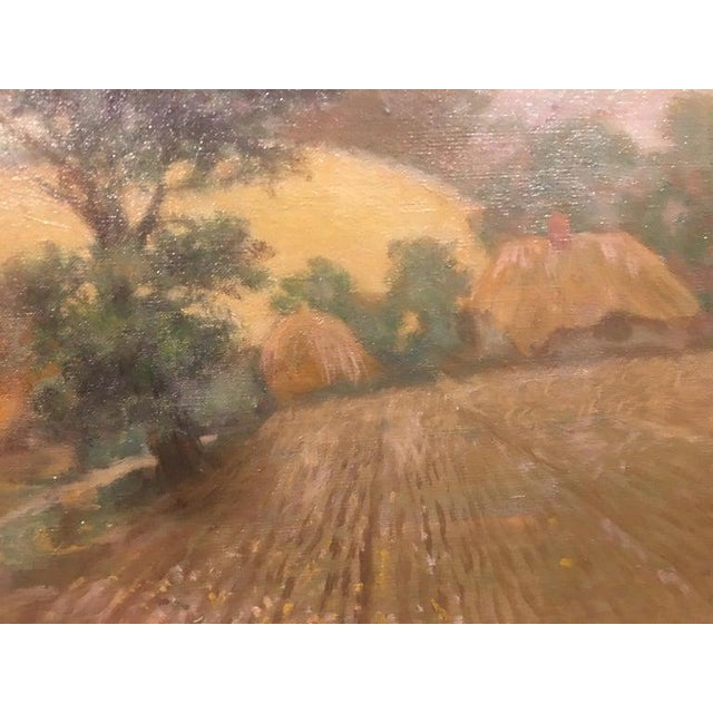 """Canvas British Oil on Canvas """"Valley of the Rothe"""" by F. M. de la Coze, 20th Century For Sale - Image 7 of 10"""