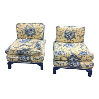 Dorothy Draper Style Cane Upholstered Chairs - A Pair For Sale