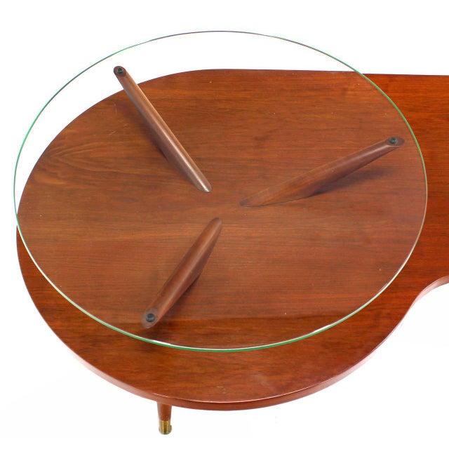 Mid-Century Modern Mid Century Modern Walnut Organic Kidney Shape Coffee Table Round Glass Top For Sale - Image 3 of 10