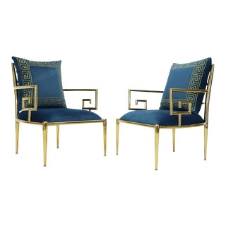 Greek Key Brass and Blue Velvet Lounge Chairs For Sale