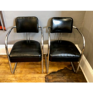 Vintage Art Deco Chrome Cantilevered Armchairs - a Pair Preview