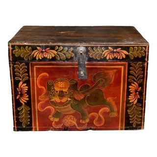 Antique Tibetan Foo Dog Red Background Box For Sale