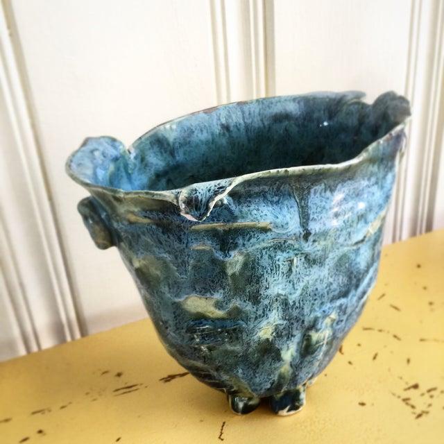 Teal Blue Handmade Pottery Vase - Image 2 of 8