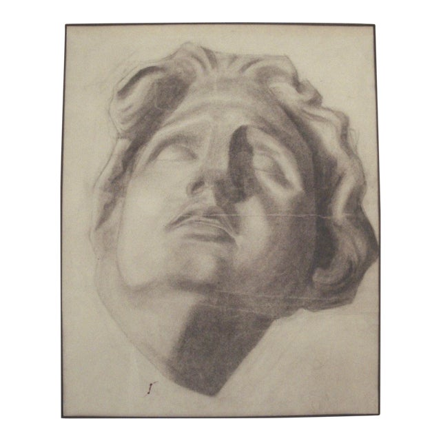1910 Charcoal Drawing of a Stone Bust - Image 1 of 4