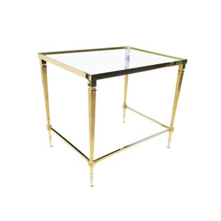 Neoclassical French Maison Jansen Style Brass End/Side Table For Sale