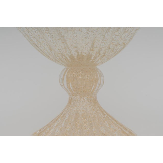 Murano Gold Flecks Murano Glass Footed Compote For Sale - Image 4 of 10