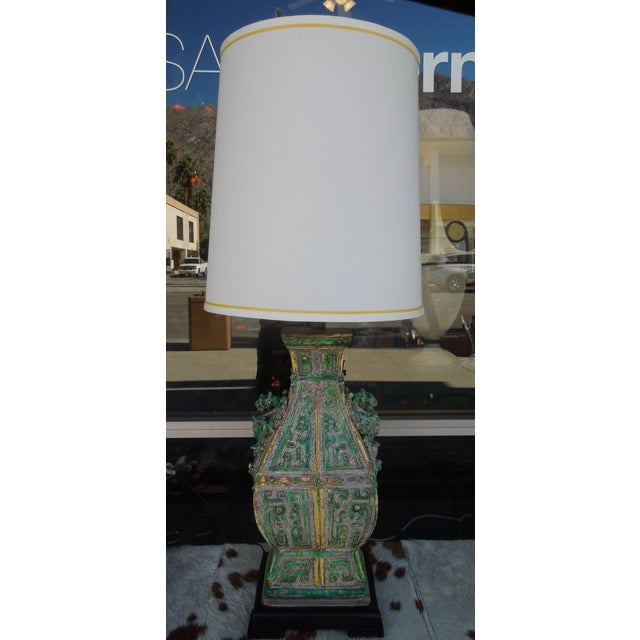 Ceramic Vintage Chinoiserie Designer Lamps - a Pair For Sale In Palm Springs - Image 6 of 11