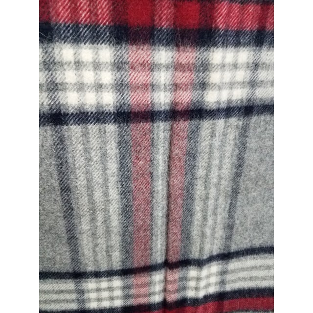 Wool Throw Red Black Gray WHite Plaid - Made in England For Sale - Image 9 of 12