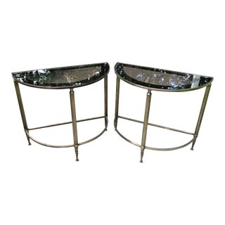 Maison Jansen Brass and Glass Demilune End Tables, a Pair For Sale