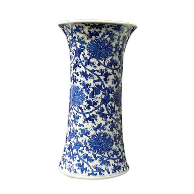 Chinese Vintage Blue & White Flower Porcelain Vase - Image 1 of 8