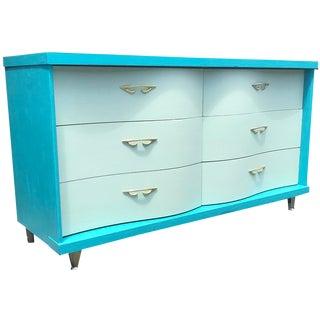 Blue Mid Century Modern Bassett Six Drawer Mid Mod Vintage Lowboy Dresser For Sale