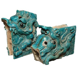 Pair of Ming Turquoise Glazed Ceramic Dragons from the 15th or 16th Century For Sale