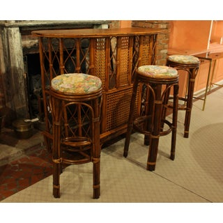 Late 19th Century Vintage Rattan and Wood Bar Set- 4 Pieces Preview