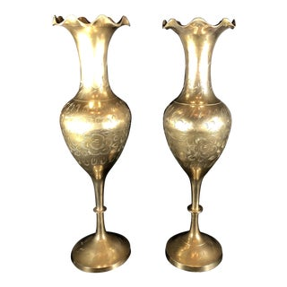 Vintage Traditional India Etched Tall Footed Engraved Brass Floral Flared Vases/Urns - a Pair For Sale