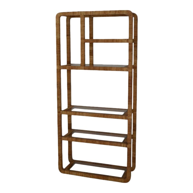 Mid-Century Rattan Bookcase For Sale