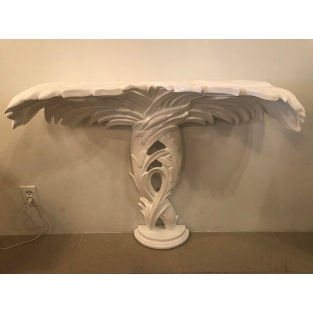 Vintage Palm Frond Leaf White Lacquered Wall Console Table For Sale - Image 11 of 12