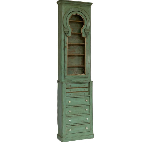 19th Century Spanish Green Pharmacy Cabinet For Sale