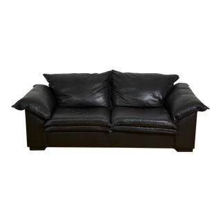 Vico Magistretti Style Two-Seat Black Leather Sleeper Sofa For Sale