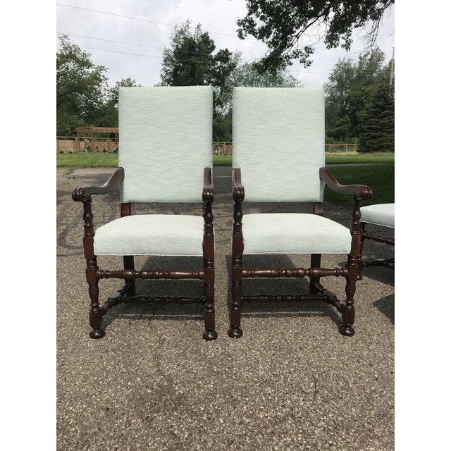White Upholstered Baroque Walnut Dining Chairs - Set of 6 For Sale - Image 6 of 12