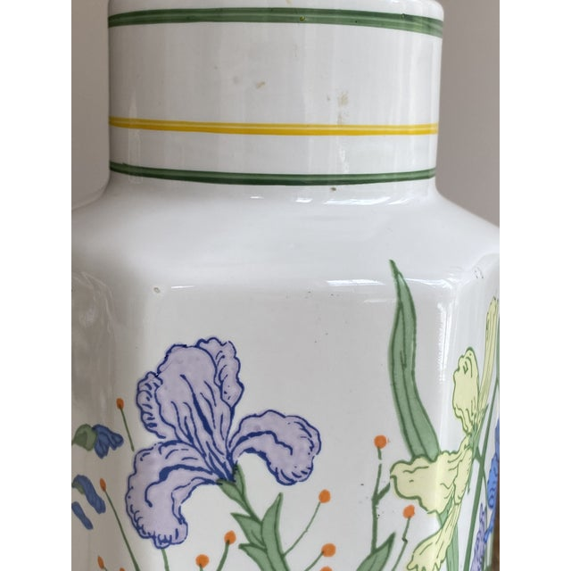 Ceramic Vintage Porcelain Floral Table Lamps - a Pair For Sale - Image 7 of 13