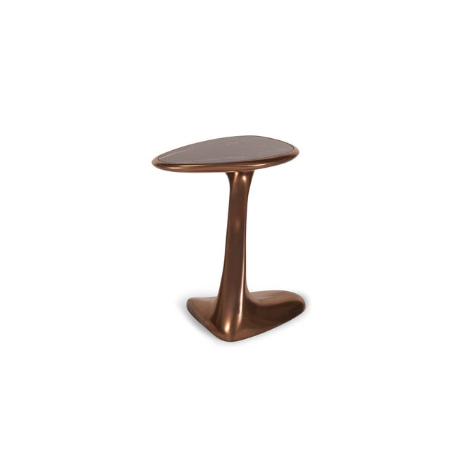 Palm Side Table in Bronze Finish With Black Marble Top For Sale In Los Angeles - Image 6 of 9