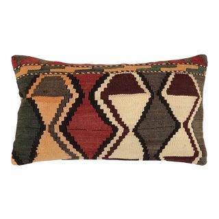 "MidCentury Kilim Lumbar Pillow | 12"" X 20"" For Sale"