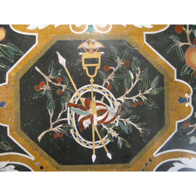 Yellow Italian Pietra Dura Inlaid Stone Table For Sale - Image 8 of 9