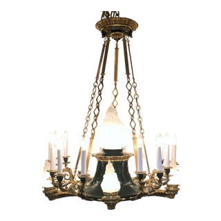 Antique French Empire Bronze and Gold Bronze Chandelier, Circa 1880-1890.