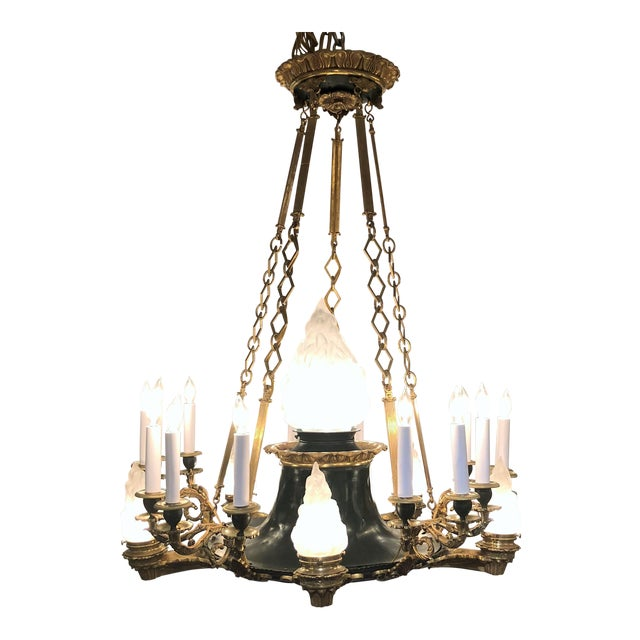 Antique French Empire Bronze and Gold Bronze Chandelier, Circa 1880-1890. For Sale