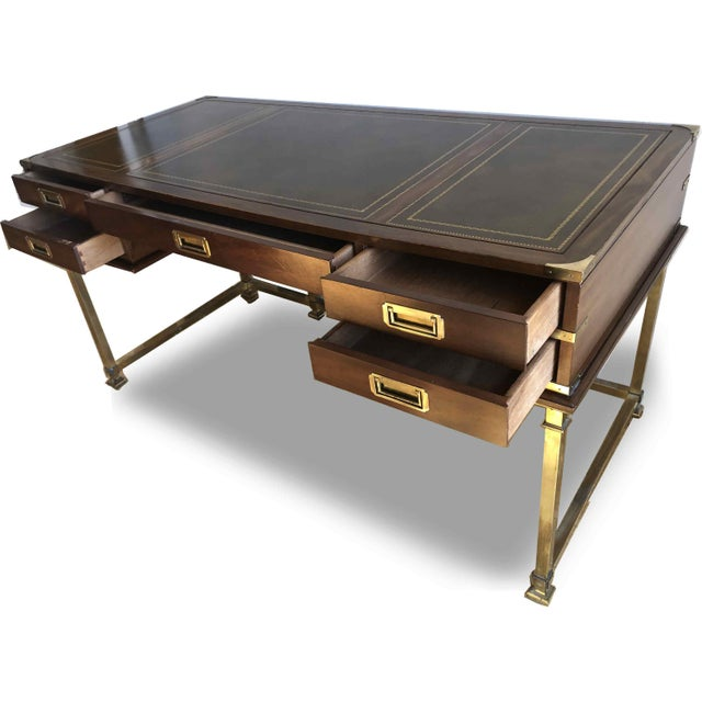 1970s 1970s Campaign Sligh Mahogany Brass & Leather Writing Desk For Sale - Image 5 of 12