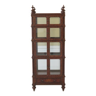 Maitland Smith 8 Door Mahogany Beveled Glass Curio Cabinet For Sale