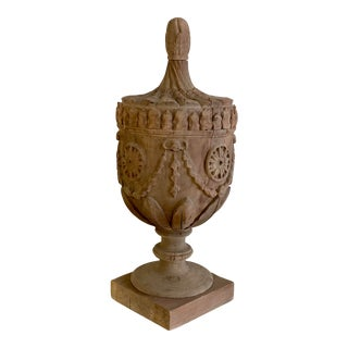 Rustic Wooden Neoclassical Urn For Sale