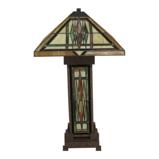 Kichler Mission Style Slag Glass Table Lamp For Sale