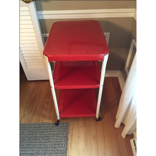 Vintage Red Metal Kitchen Cart - Image 4 of 4