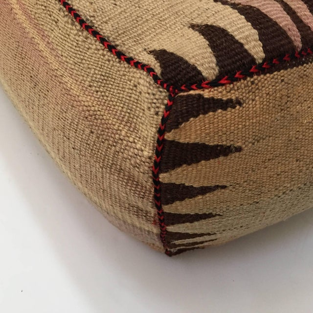 Islamic Moroccan Tribal Floor Pillow Seat Cushion Made From a Vintage Berber Rug For Sale - Image 3 of 13