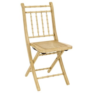 Faux-Bamboo Caned Folding Chair