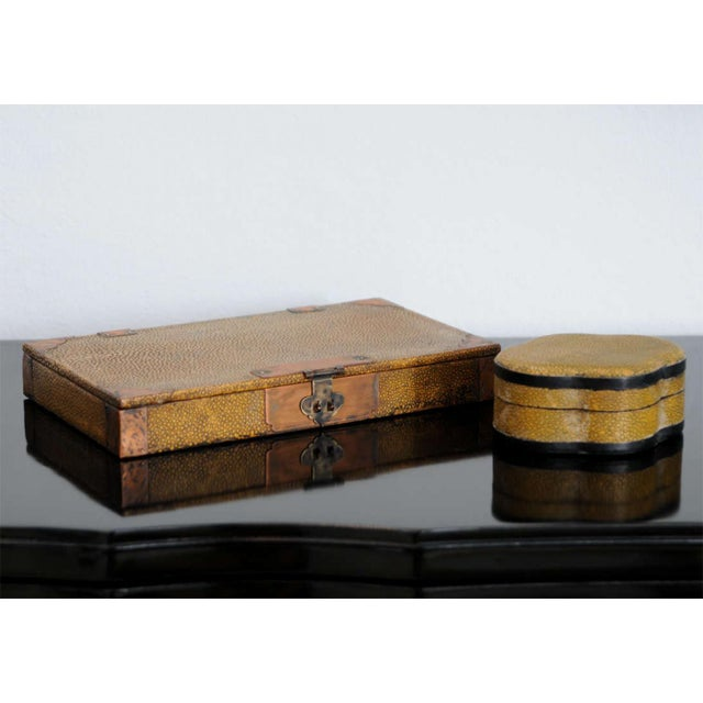 Asian Two Chinese Shagreen Covered Boxes, 19th Century For Sale - Image 3 of 9