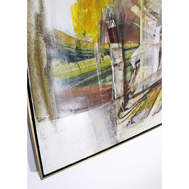 Yellow Mid Century Modern Framed Mixed Media Acrylic Abstract Painting by Ljubo Biro For Sale - Image 8 of 11