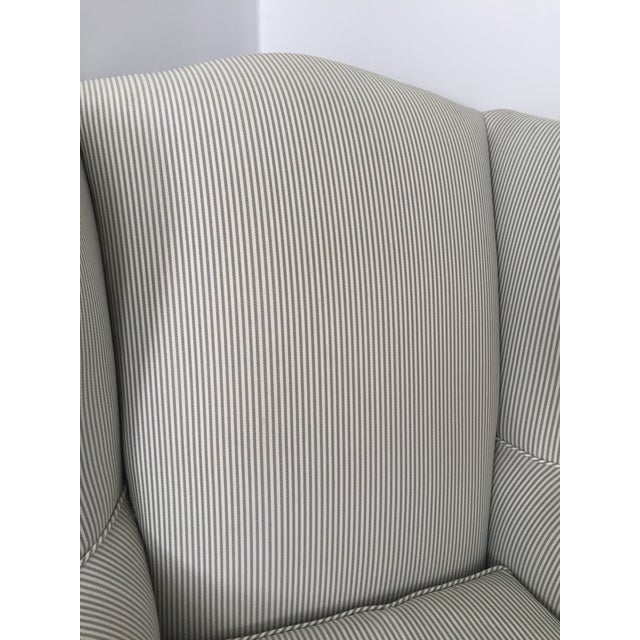 Custom Striped Wing Chair - Image 4 of 9