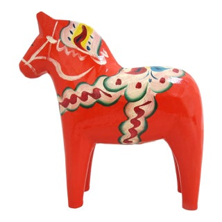 Vintage Mid Century Swedish Nils Olsson Wooden Horse With Tag For Sale