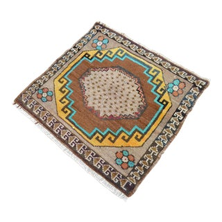 Distressed Low Pile Turkish Yastik Petite Rug Hand Knotted Faded Mat - 25'' X 28'' For Sale
